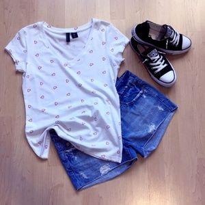 NWT Cynthia Rowley hearts white t-shirt size M